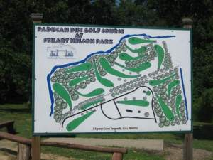 Disc golf course sign